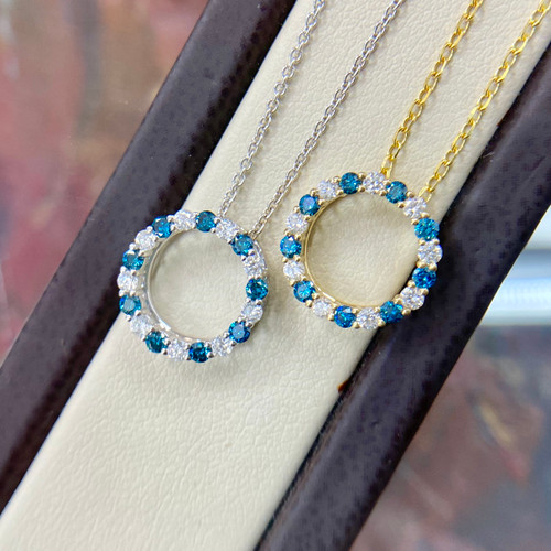 Open Circle Blue Diamond Pendant Necklace 0.46tcw