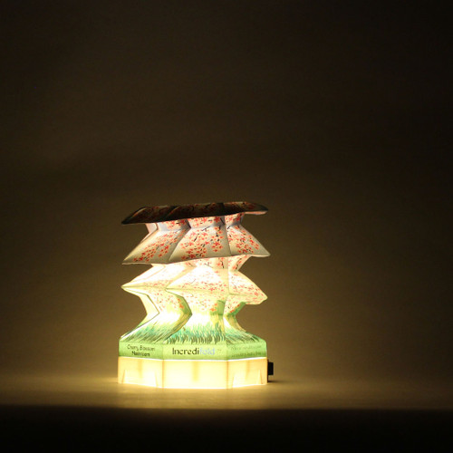 When our lamps were first created, we used this unique mushroom fold to style of lamp shades. A Japanese Cherry Blossom tree theme was created to give this lamp some characteristic.