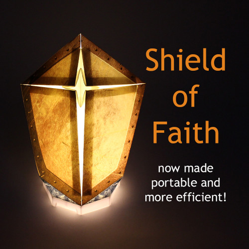 "The Shield of Faith is an important part of the Armor of God. It distinguishes the flaming arrows of the evil one. We have designed this shield to with a very special ""Cross"" pattern.  This is a reminder that we cant just pick up any shield. We need the Shield that is rooted in Jesus Christ."