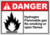 Danger Sign hydrogen flammable gas no smoking