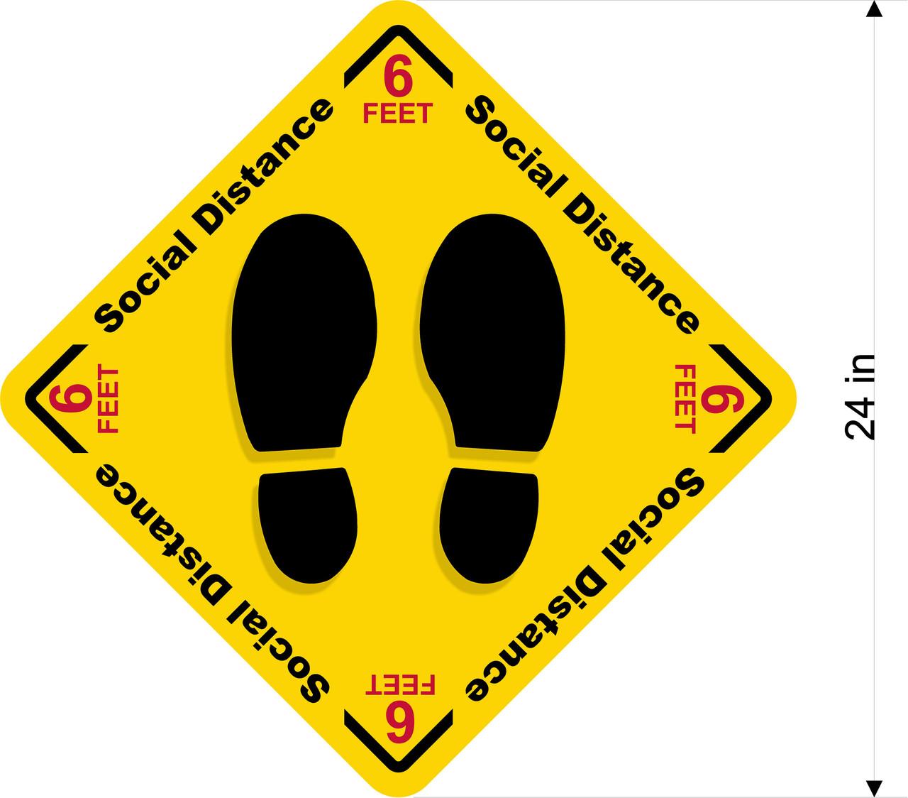 Covid 19 Social Distance Floor Decal - Sticker