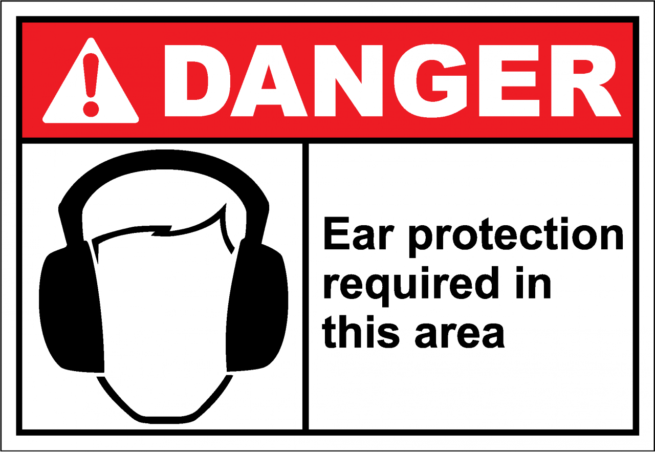 Danger Sign ear protection required in this area