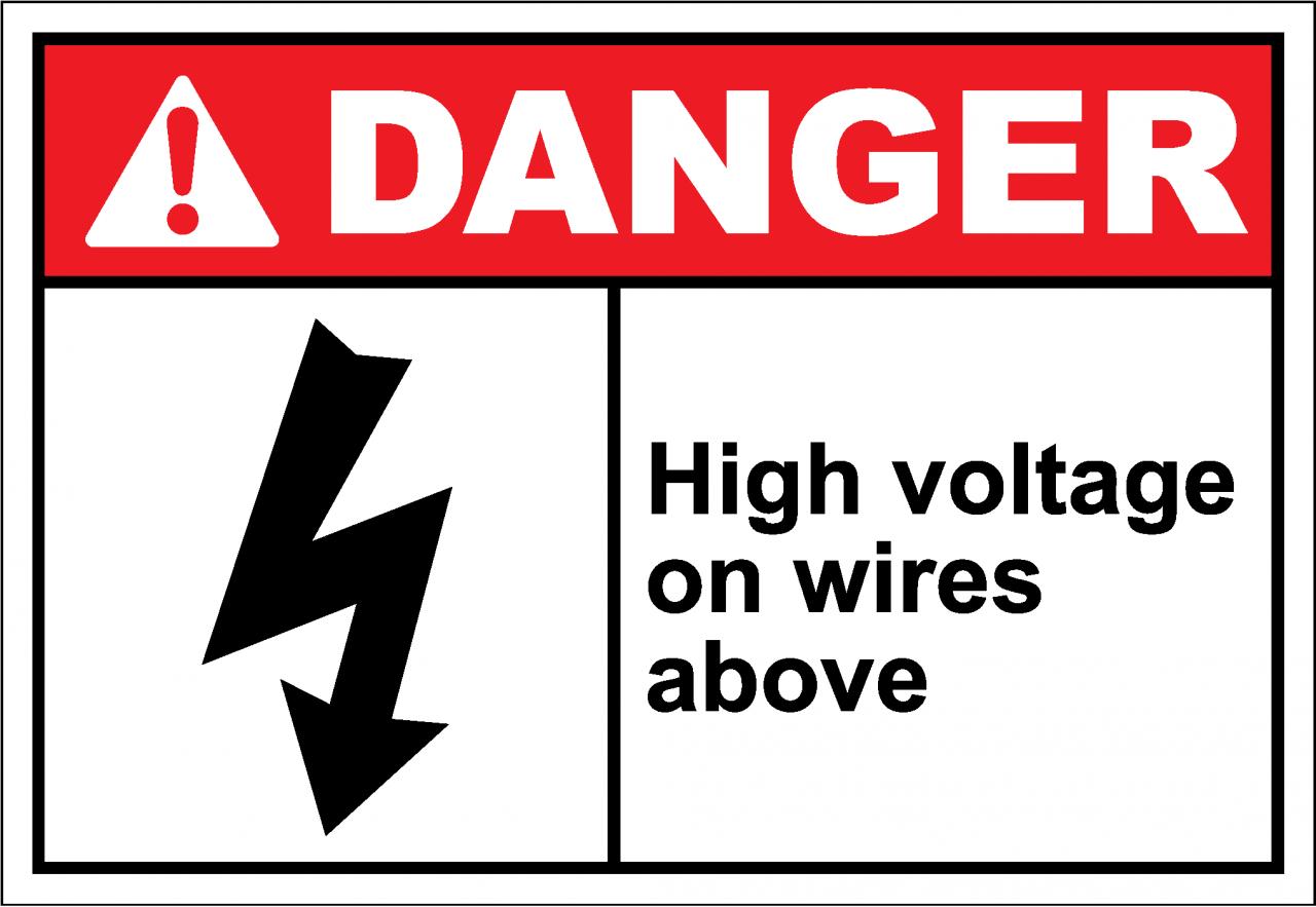 Danger Sign high voltage on wires above