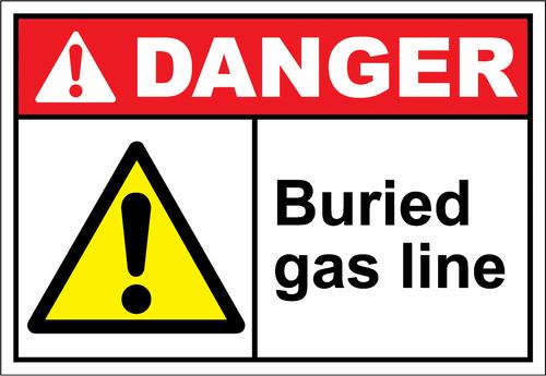 Danger Sign buried gas line