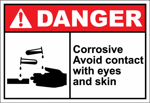 Danger Sign corrosive avoid contact with eyes