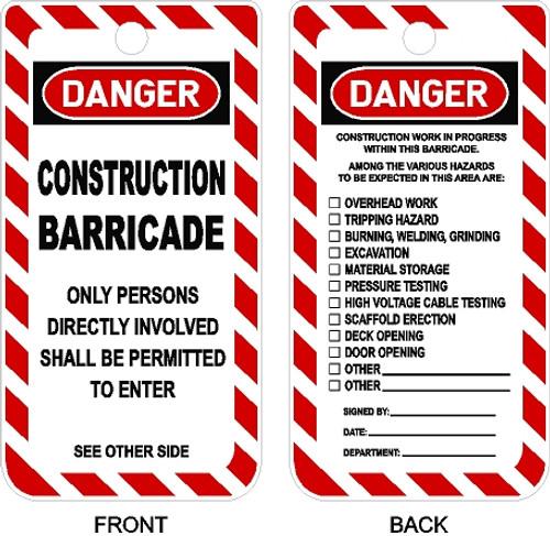 Construction Barricade Tag