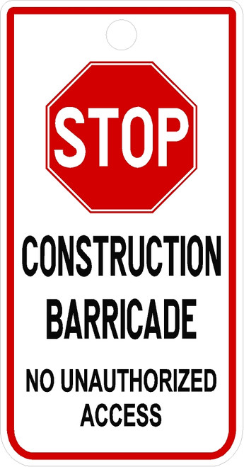 Stop Construction Barricade Tag