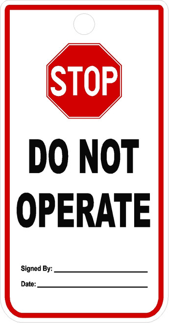 Stop Do Not Operate Tag
