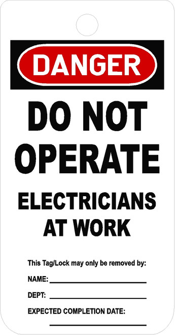 Do Not Operate Electricians At Work Tag