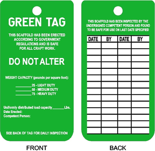 Green Tag Scaffold Safe to use