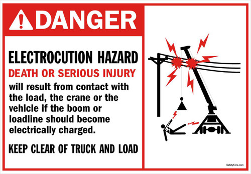 Danger Sign Electrocution Hazard Crane