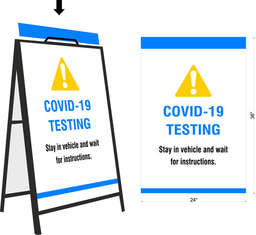 Covid 19 Testing A-Frame Sign