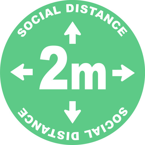 Social Distance 2m Green Floor Decal Sticker