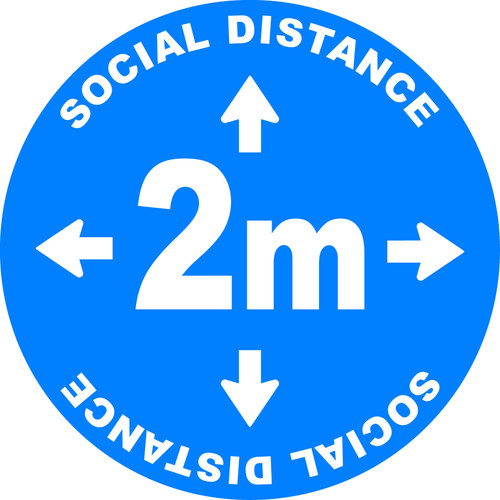 Social Distance 2m Blue Floor Decal Sticker
