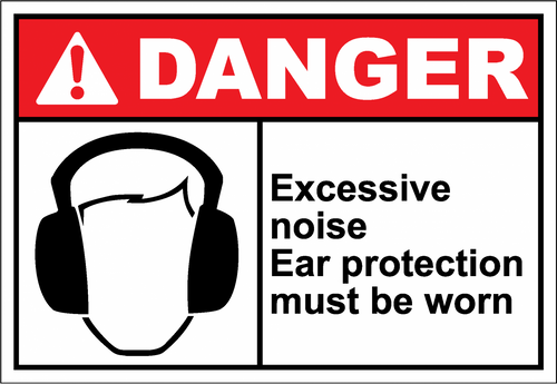 Danger Sign excessive noise ear protection must be