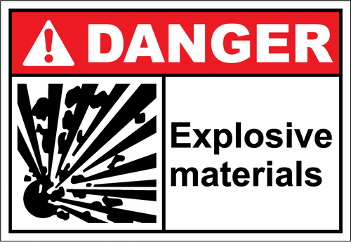 Danger Sign explosive materials