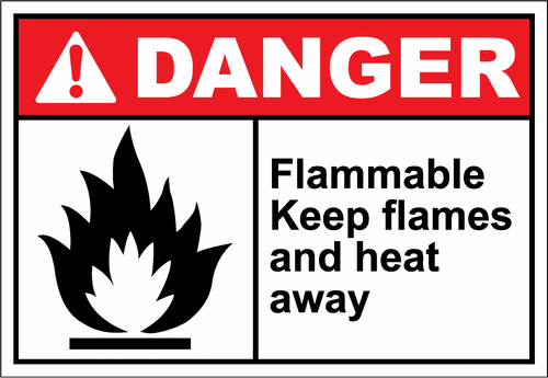 Danger Sign flammable keep flames and heat away