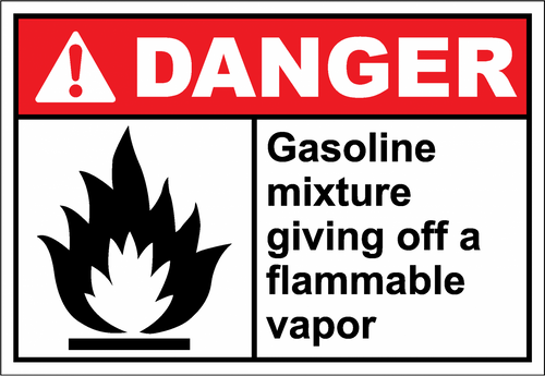 Danger Sign gasoline mixture giving off a flammable