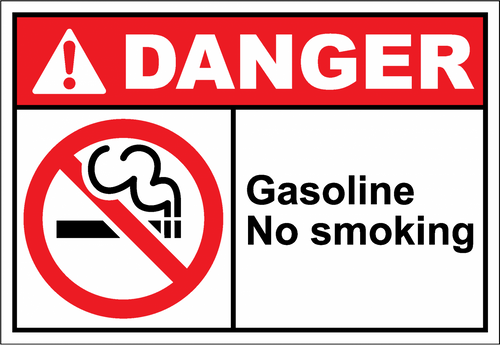 Danger Sign gasoline no smoking