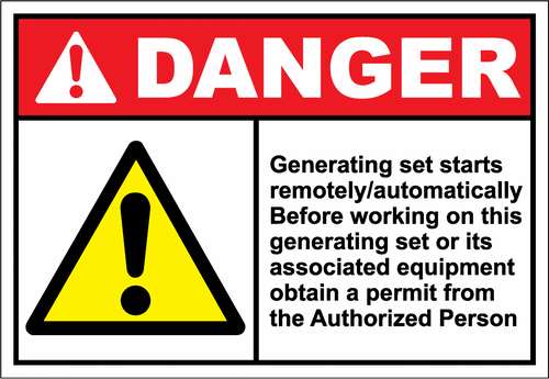 Danger Sign generating set starts remotely - automat