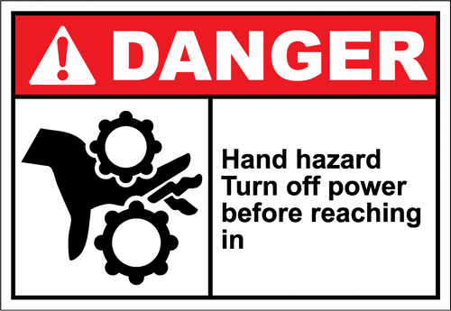 Danger Sign hand hazard turn off power