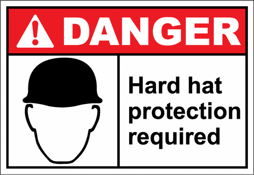 Danger Sign hard hat protection required