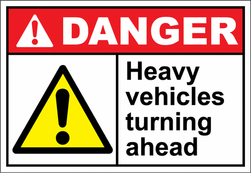 Danger Sign heavy vehicles turning ahead