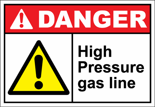 Danger Sign high pressure gas line
