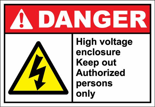 Danger Sign high voltage enclosure keep out