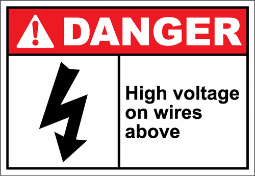 Danger Sign high voltage on wires above