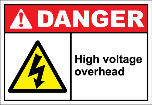 Danger Sign high voltage overhead