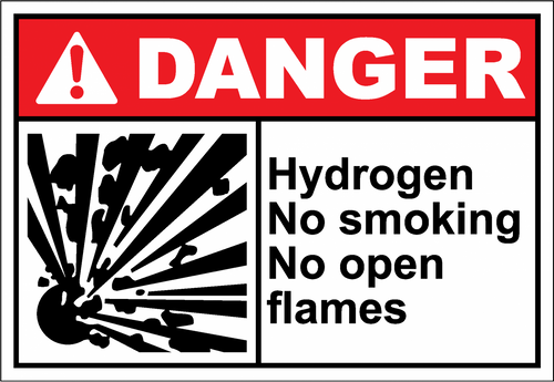 Danger Sign hydrogen no smoking no open flames