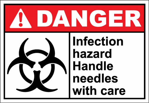 Danger Sign infection hazard handle needles