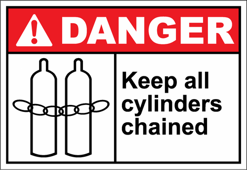 Danger Sign keep all cylinders chained