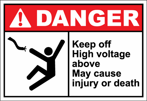 Danger Sign keep off high voltage above