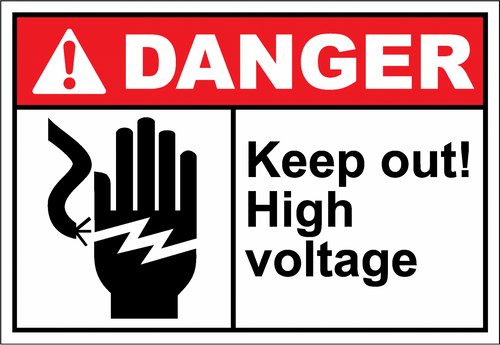 Danger Sign keep out high voltage
