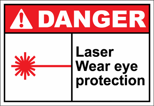 Danger Sign laser wear eye protection
