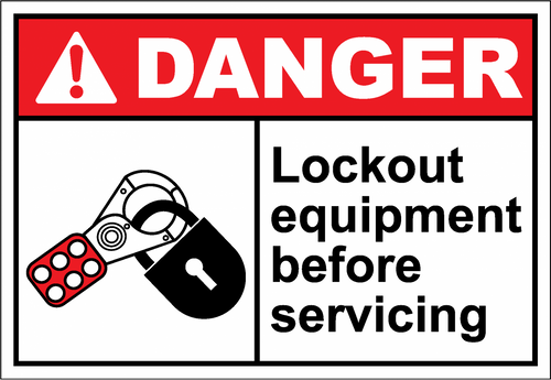 Danger Sign lockout equipment before servicing