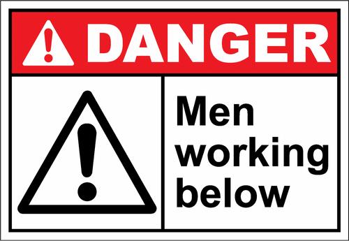 Danger Sign men working below