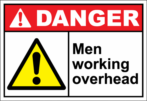 Danger Sign men working overhead