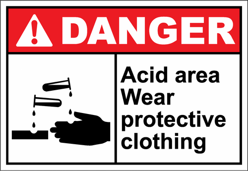 Danger Sign acid area wear protective clothing