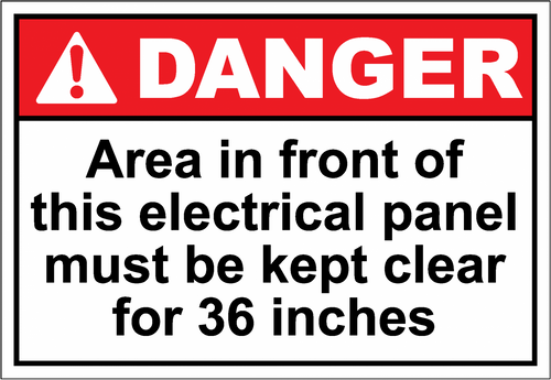 Danger Sign area in front of this electrical panel