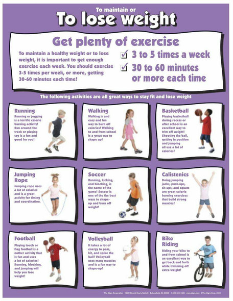 To Maintain or to Lose Weight Get Plenty of Exercise - Laminated