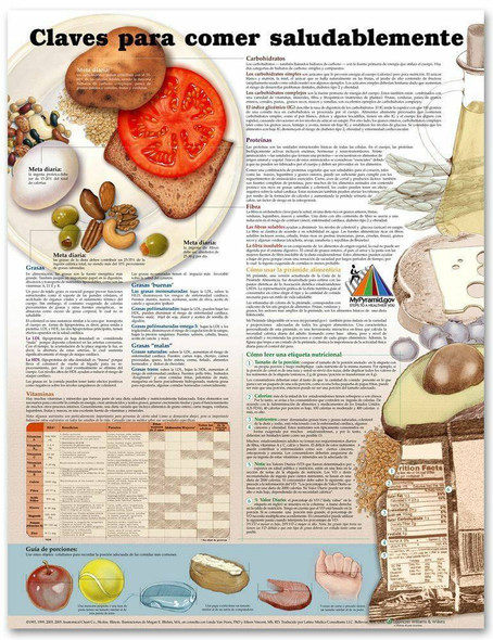 Keys to Healthy Eating in Spanish Claves Para Una Alimentacion Saludable Laminated Anatomical Chart