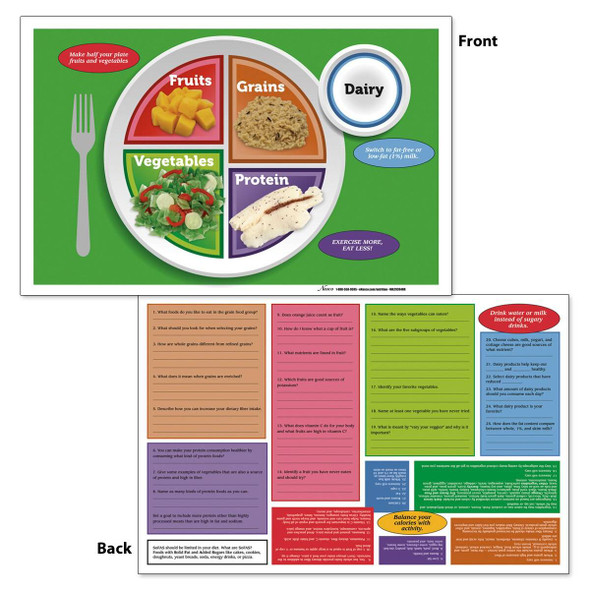 Nasco MyPlate TearPad /Place Mats - 17 in x 11 in - 50 Sheets