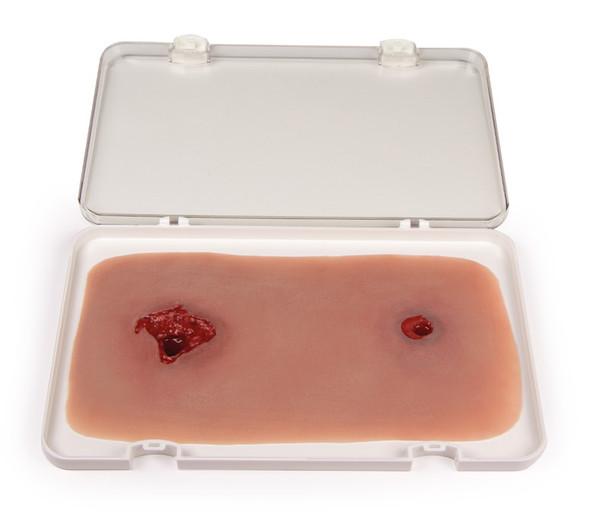 Leg Skin Moulage, Bullet Hole Wound - Bleeding