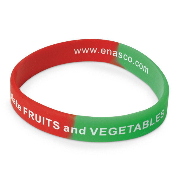 Nasco Silicone Wristband - Fruits and Veggies - 8 in x 1/2 in