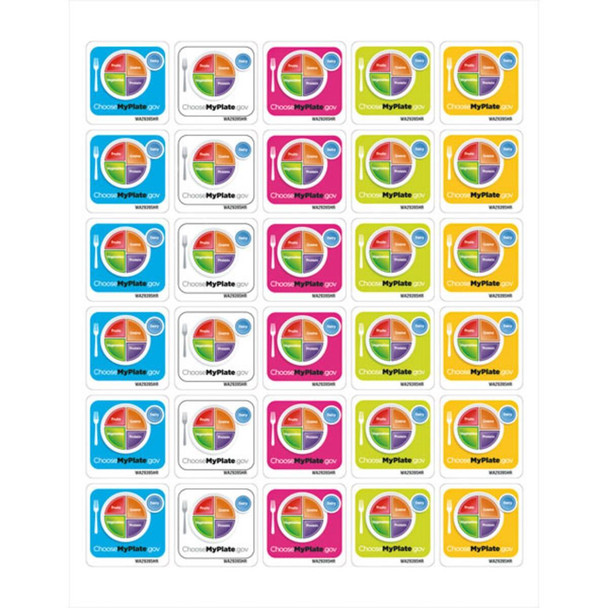 MyPlate 1-1/2 in x 1-1/2 in Stickers - Pkg of 25 Sheets - 30 Stickers/Sheet - 750 Stickers Total