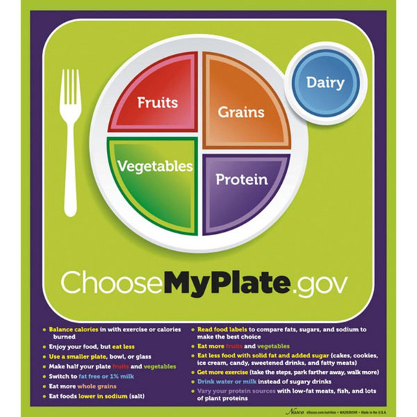 MyPlate Laminated Poster with Key Phrases - 20 in x 18 in
