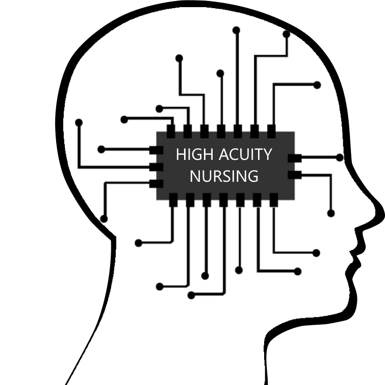 image of a microchip within a human head outline with the text high acuity nursing